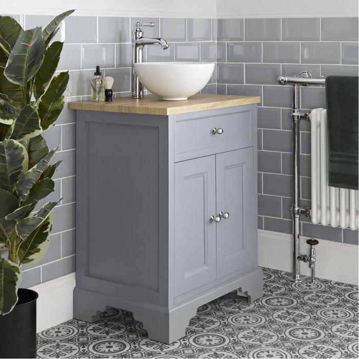 Mueble de Lavabo Tradicional Color Gris Claro de 645mm Completo con Lavabo Sobre Encimera - Thornton