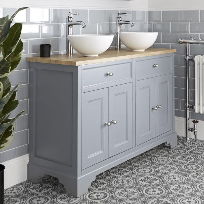 Mueble de Lavabo Tradicional Color Blanco Antiguo de 1200mm Completo con Dos Lavabos Sobre Encimera - Thornton