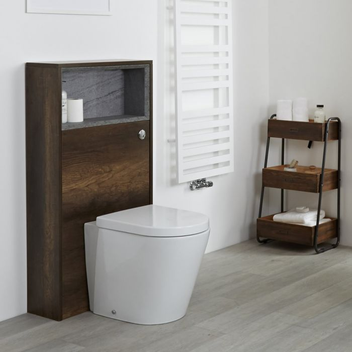 Mueble Completo con Inodoro Color Roble Oscuro con Diseño Abierto de 600mm - Hoxton