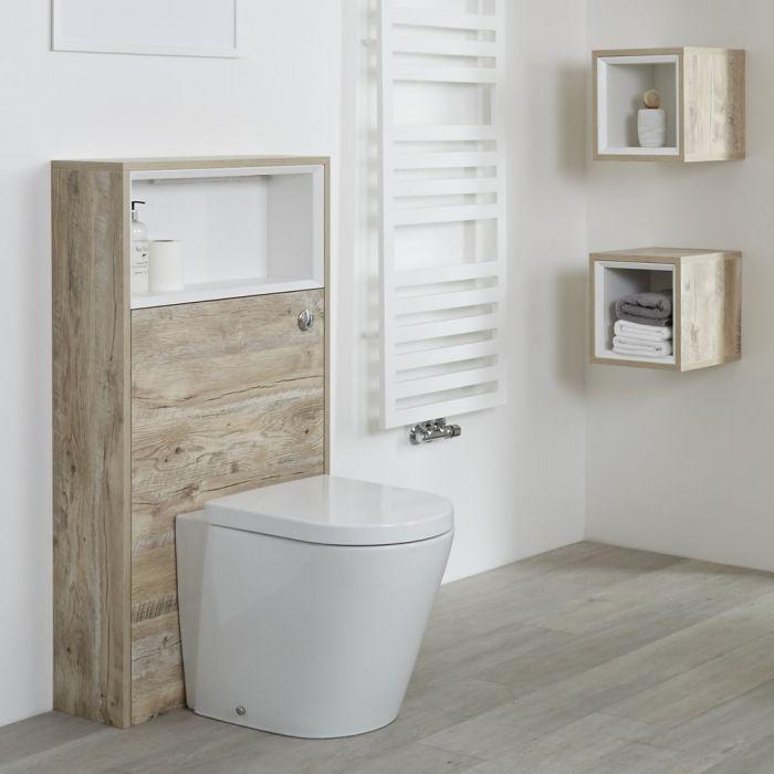Mueble Completo con Inodoro Color Roble Claro con Diseño Abierto de 600mm - Hoxton