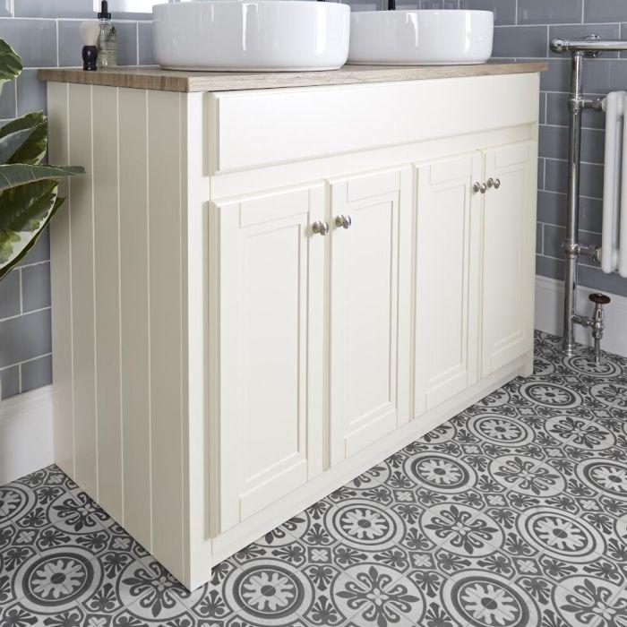 Mueble de Lavabo Tradicional Color Marfil de 1200mm Completo con Lavabos Sobre Encimera - Charlton