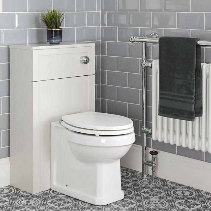 Mueble de WC Tradicional Color Blanco Antiguo de 500mm Completo Inodoro Adosado y Cisterna - Thornton