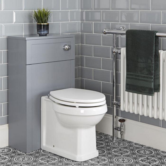 Mueble de WC Tradicional Color Gris Claro de 500mm Completo Inodoro Adosado y Cisterna - Thornton