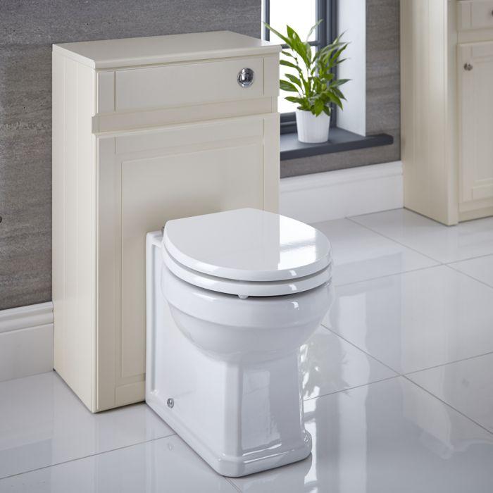 Mueble de WC Adosado Color Marfil Tradicional de 500mm Completo con Inodoro, Cisterna y Tapa - Charlton