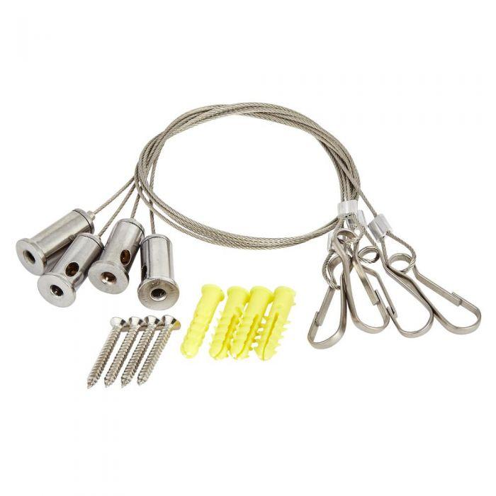 Conjunto de Montaje con Cable de Acero Regulable para Alcachofas de Ducha de Techo Empotrables