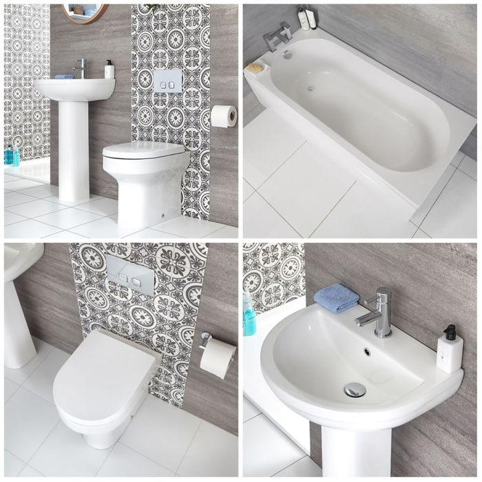 Conjunto para Cuarto de Baño Moderno Completo Inodoro Adosado, Lavabo con Pedestal y Bañera  -  Covelly