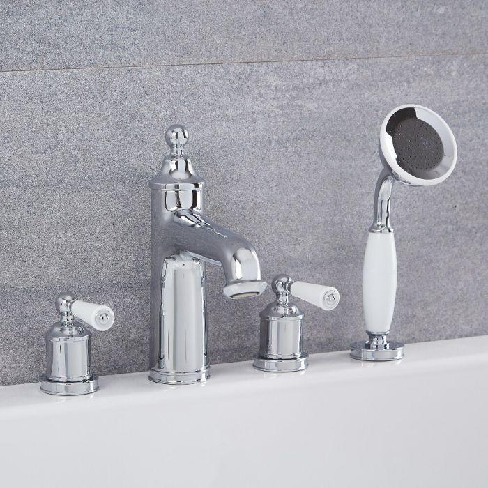 Grifo Mezclador de Sobreponer Tradicional de 4 Agujeros para Bañera Completo con Telefonillo de Ducha - Cromado - Colworth