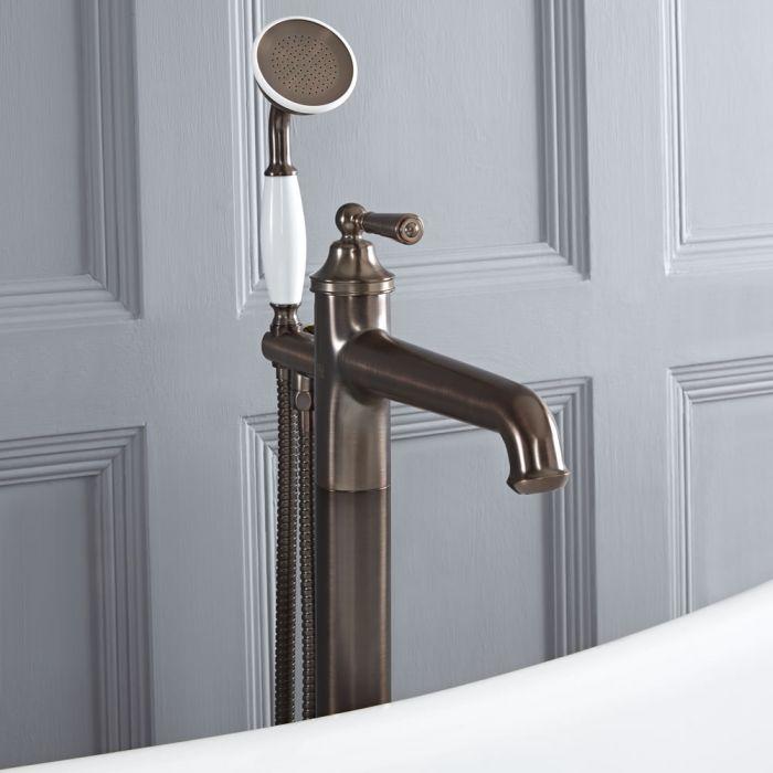 Grifo Mezclador para Bañera Exenta Tradicional con Telefonillo de Ducha Color Bronce Bruñido - Colworth