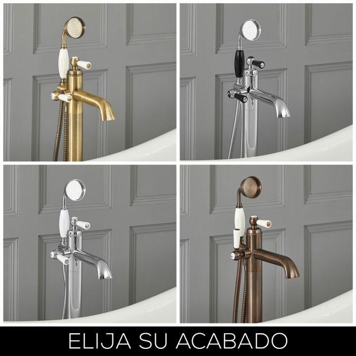 Grifo Mezclador Autoportante Tradicional para Bañera con Manijas a Palanca Disponible en Distintos Acabados -  Elizabeth