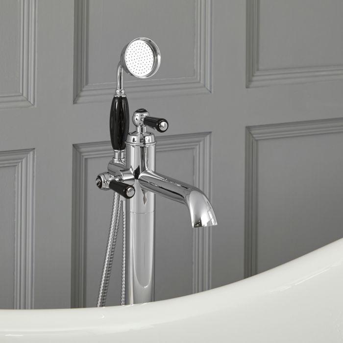 Grifo Mezclador Autoportante con Telefonillo para Bañera Estilo Tradicional Color Cromo y Negro - Elizabeth