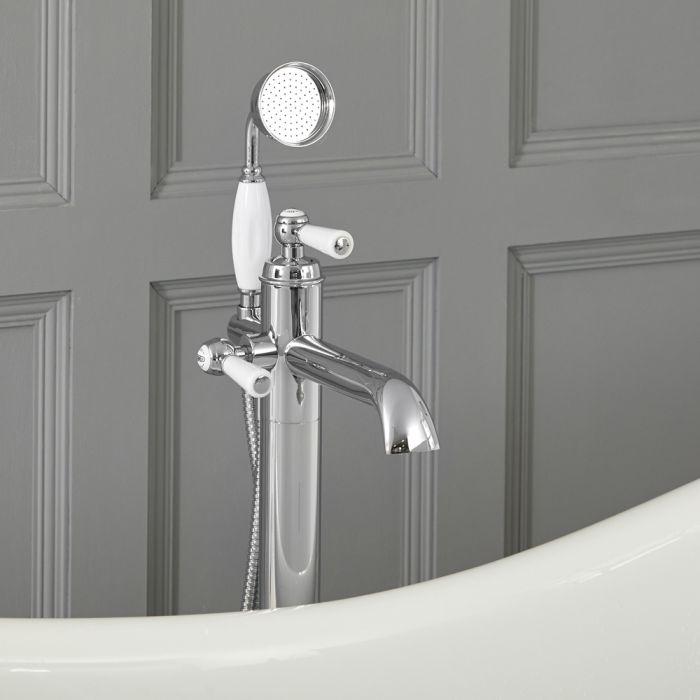 Grifo Mezclador Autoportante con Telefonillo para Bañera Estilo Tradicional Color Cromo y Blanco - Elizabeth