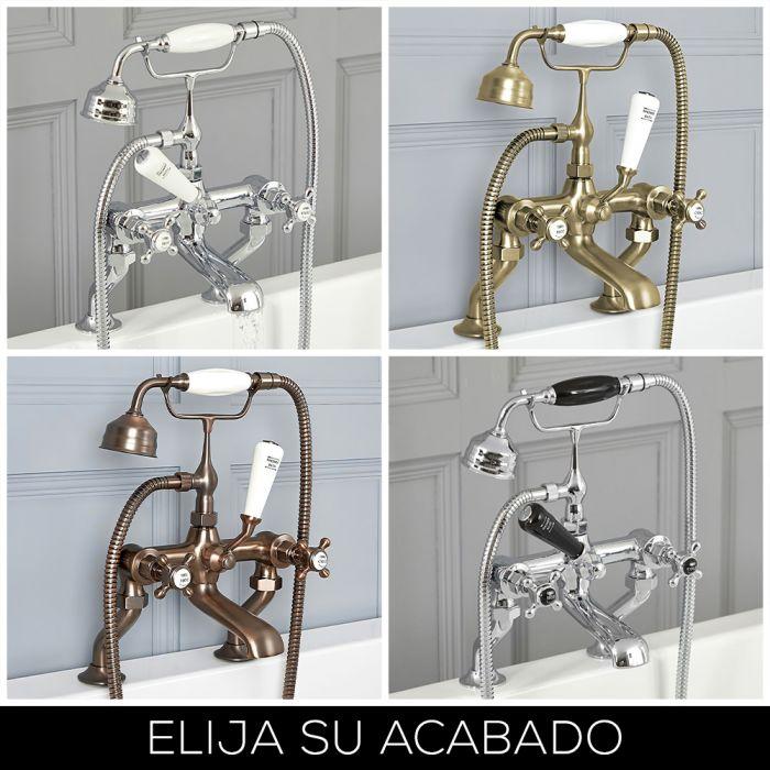 Grifo Mezclador para Bañera con Telefonillo Diseño Tradicional con Manijas en Cruceta Disponible en Distintos Acabados - Elizabeth