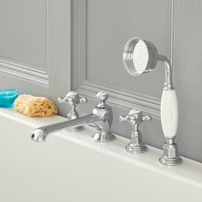 Grifo Mezclador para Bañera de 4 Agujeros con Telefonillo Estilo Tradicional Color Cromado y Blanco con Manijas en Cruceta - Elizabeth