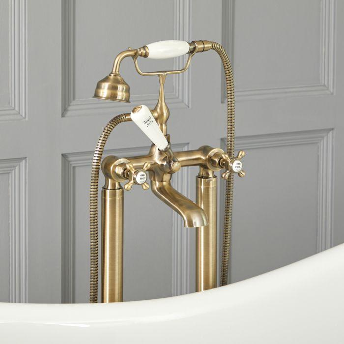 Grifo Mezclador Autoportante Tradicional para Bañera Acabado Efecto Oro Cepillado con Manijas en Cruceta -  Elizabeth