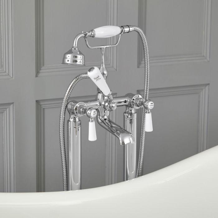 Grifo Mezclador Autoportante Tradicional para Bañera Acabado Color Cromado y Blanco con Manijas a Palanca -  Elizabeth