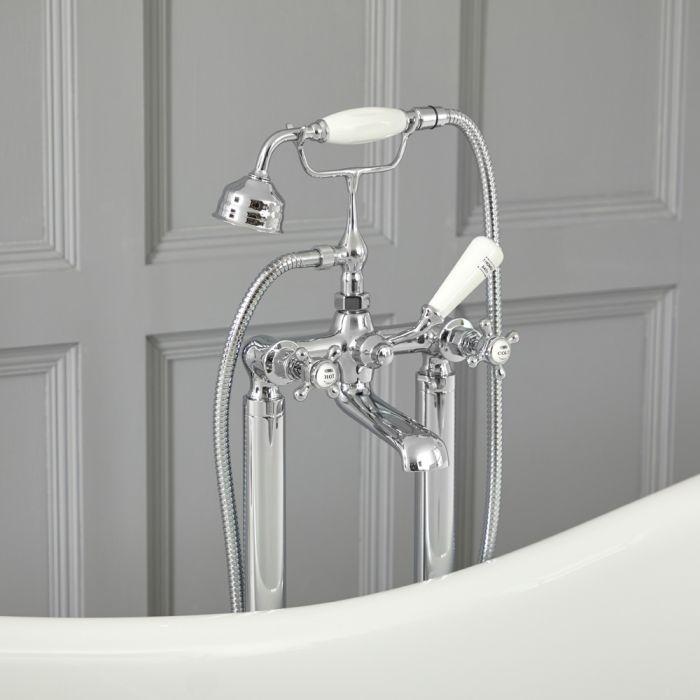 Grifo Mezclador Autoportante Tradicional para Bañera Acabado Color Cromado y Blanco con Manijas en Cruceta -  Elizabeth