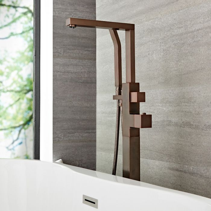 Grifo Mezclador Moderno para Bañera Exenta Completo con Telefonillo con Acabado Efecto Bronce Bruñido - Kubix