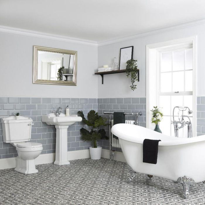 Conjunto de Baño Tradicional Completo con Bañera Exenta con Lavabo WC - Oxford