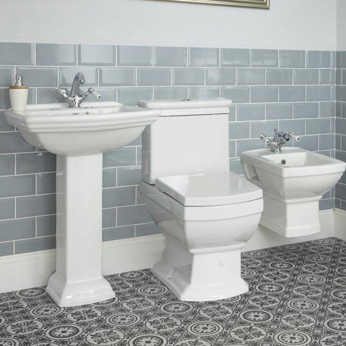 Conjunto de Baño Tradicional Completo con Bidé y WC Suspendidos y Variedad de Lavabos - Chester
