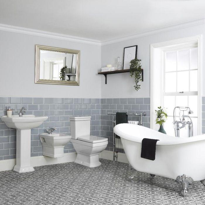 Conjunto de Baño Tradicional Completo con Bañera Exenta con WC y Bidé Suspendidos y Opción de Distintos Lavabos - Chester