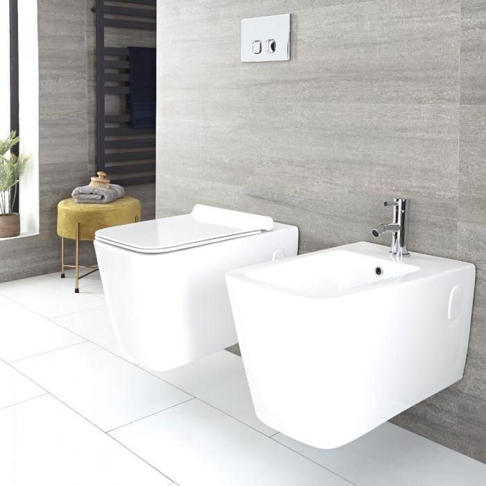 Set de Baño Completo con Inodoro y Bidé Moderno Suspendido - Disponible con Distintas Estructuras Empotrables y Placas de Descarga - Sandford