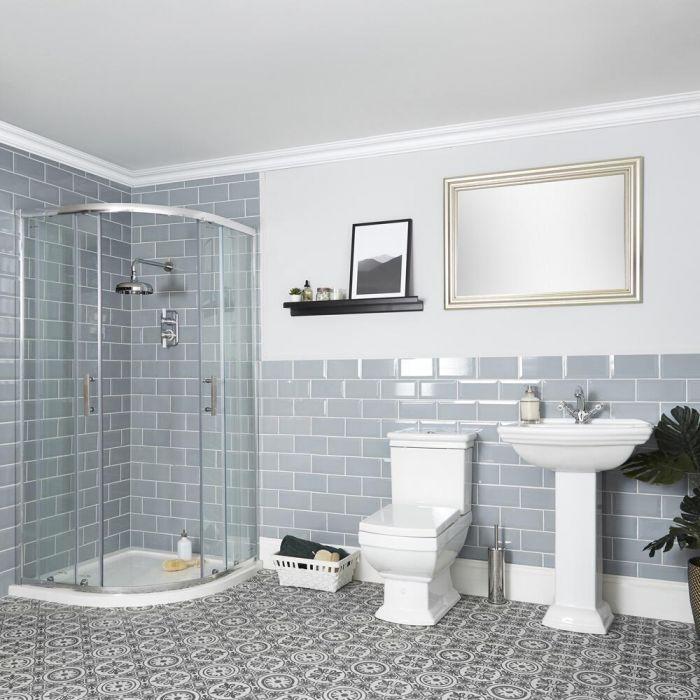 Conjunto de Baño Tradicional Completo con Mampara de Ducha Angular, Inodoro con Cisterna y Lavabo con Pedestal - Chester