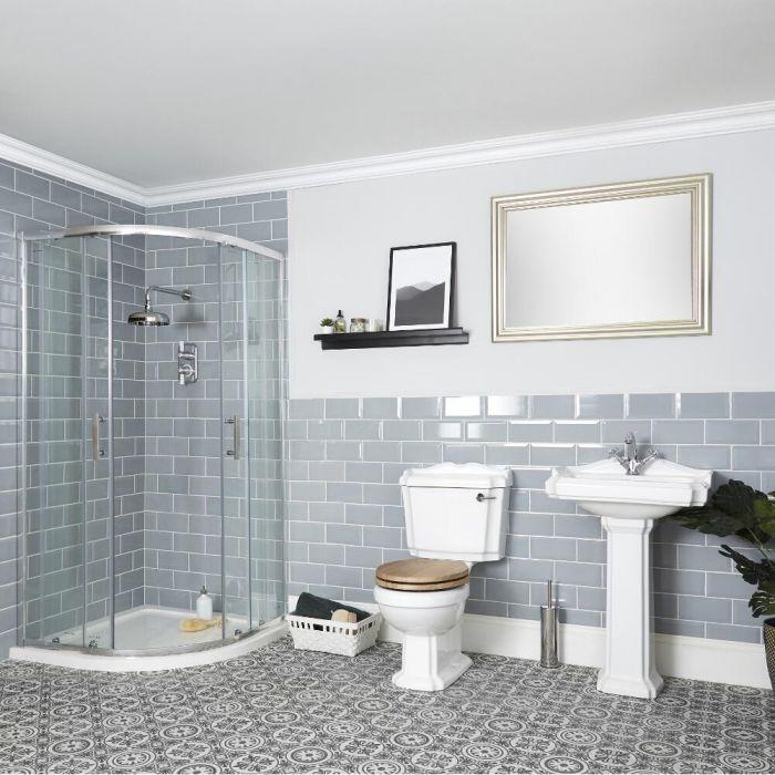 Conjunto de Baño Tradicional Completo con Mampara de Ducha Angular, Inodoro con Cisterna y Lavabo con Pedestal - Oxford