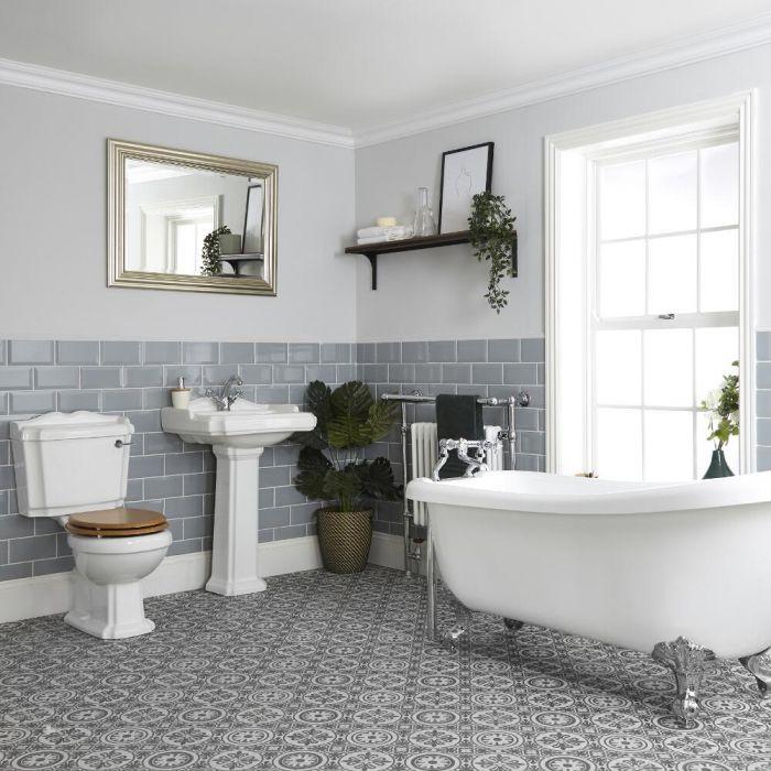 Conjunto de Baño Tradicional Completo con Bañera Tradicional, Inodoro con Cisterna y Lavabo con Pedestal - Oxford