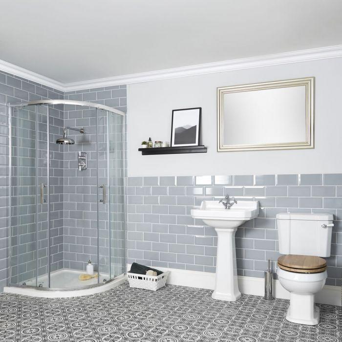 Conjunto Tradicional para Cuarto de Baño Completo con Mampara de Ducha Angular, Inodoro Monobloque y Lavabo con Pedestal - Richmond