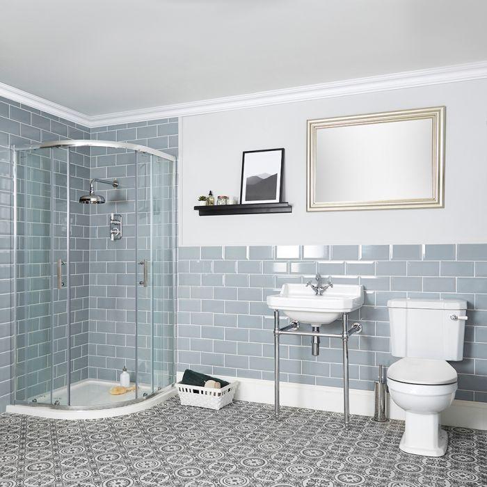 Conjunto Tradicional para Cuarto de Baño Completo con Mampara de Ducha Angular, Inodoro Monobloque y Lavabo Consola con Estructura - Richmond