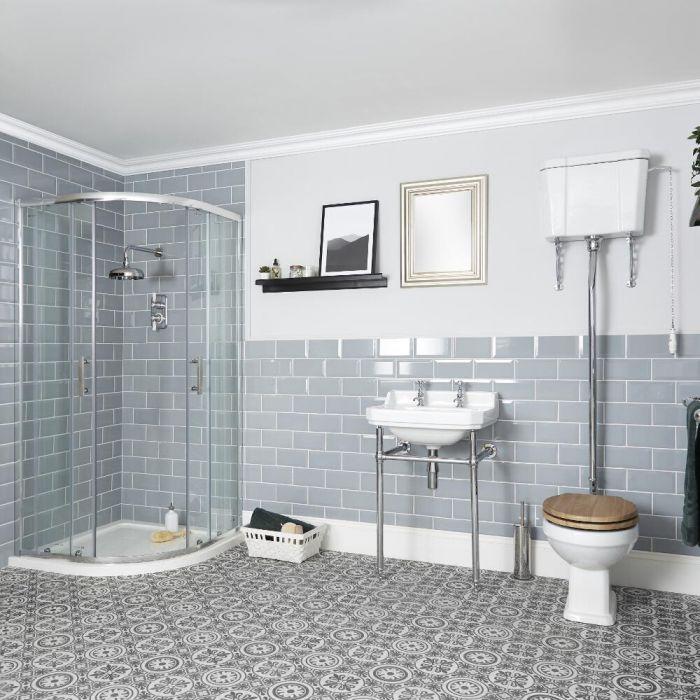 Conjunto de Baño Tradicional Completo con Mampara de Ducha Angular, Inodoro, Cisterna Alta y Consola - Richmond