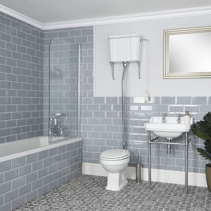 Conjunto de Baño Tradicional Completo Bañera, Inodoro con Cisterna Alta y Consola con Lavabo - Richmond
