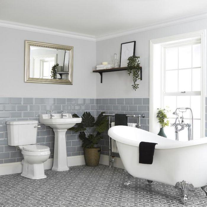 Conjunto de Baño Tradicional Completo Bañera Exenta, Inodoro con Cisterna y Lavabo con Pedestal - Richmond