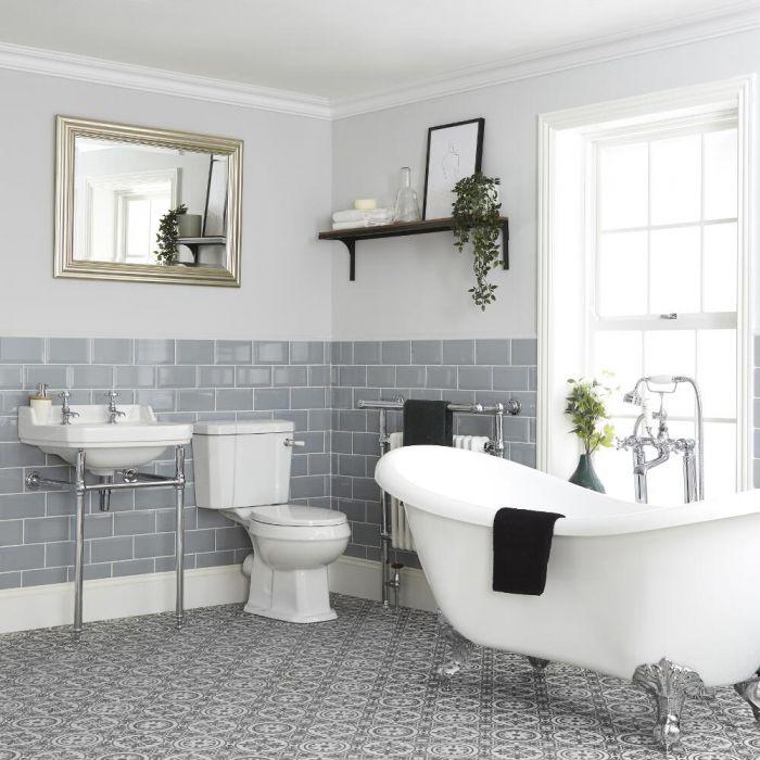 Conjunto de Baño Tradicional Completo Bañera Exenta, Inodoro con Cisterna y Consola con Lavabo - Richmond