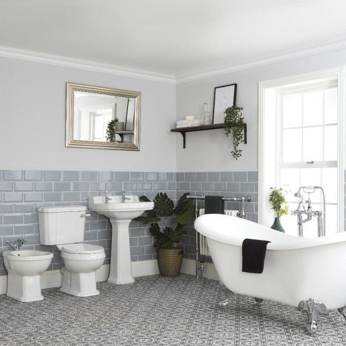 Conjunto de Baño Tradicional Completo Bañera Exenta, Bidé, Inodoro con Cisterna y Lavabo con Pedestal - Richmond