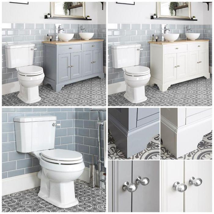 Conjunto de Baño Tradicional Completo con Mueble de Lavabo de 1200mm con Lavabo Sobre Encimera e Inodoro Monobloque - Thornton