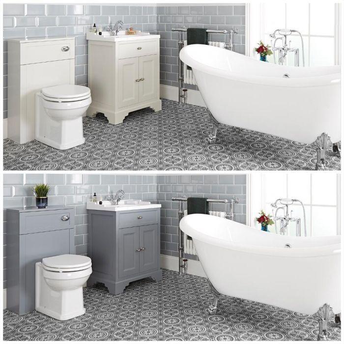 Conjunto de Baño Tradicional Completo con Bañera Exenta, Mueble de Lavabo de 630mm e Inodoro Adosado - Thornton