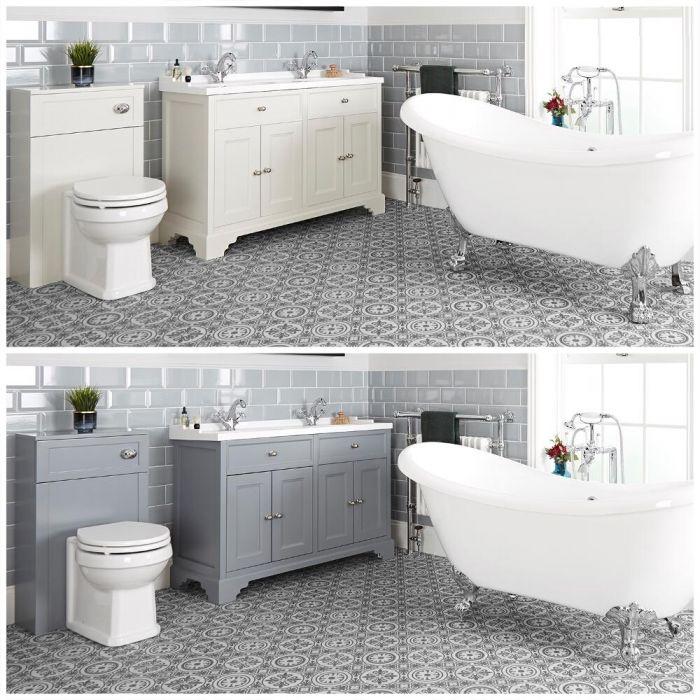 Conjunto de Baño Tradicional Completo con Bañera Exenta, Mueble de Lavabo de 1200mm con Lavabo Doble e Inodoro Adosado - Thornton