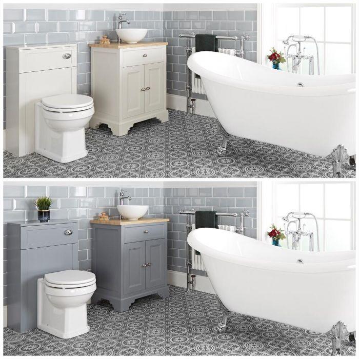 Conjunto de Baño Tradicional Completo con Bañera Exenta, Mueble de Lavabo de 645mm con Lavabo Sobre Encimera e Inodoro Adosado - Thornton