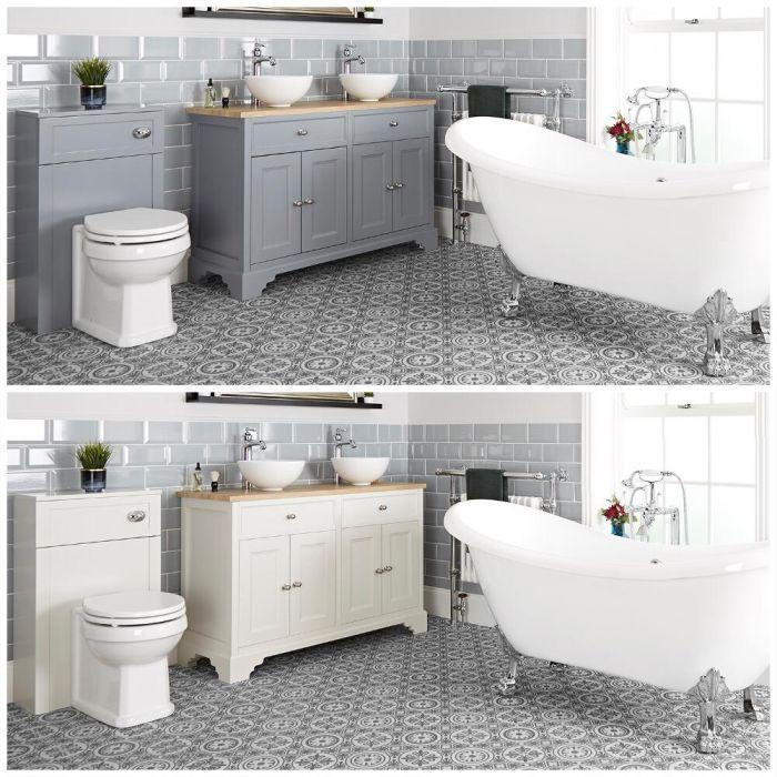 Conjunto de Baño Tradicional Completo con Bañera Exenta, Mueble de Lavabo de 1200mm e Inodoro Adosado - Thornton