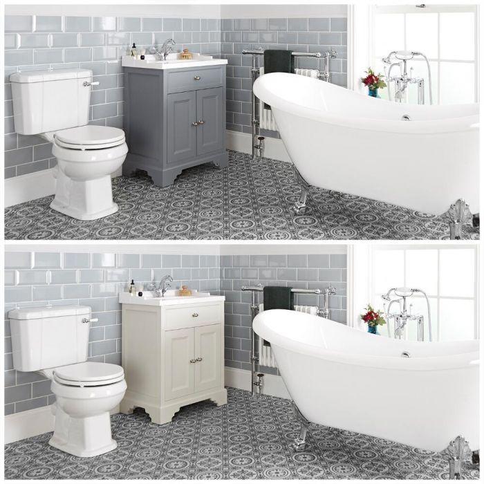 Conjunto de Baño Tradicional Completo con Bañera Exenta, Mueble de Lavabo de 630mm e Inodoro Monobloque - Thornton