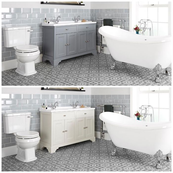 Conjunto de Baño Tradicional Completo con Bañera Exenta, Mueble de Lavabo de 1200mm con Lavabo Doble e Inodoro Monobloque - Thornton