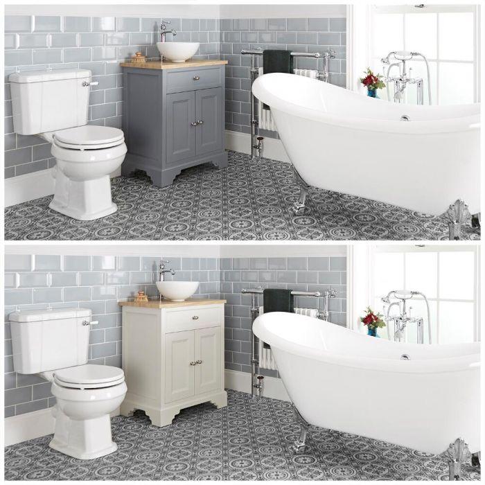Conjunto de Baño Tradicional Completo con Bañera Exenta, Mueble de Lavabo de 645mm con Lavabo Sobre Encimera e Inodoro Monobloque - Thornton