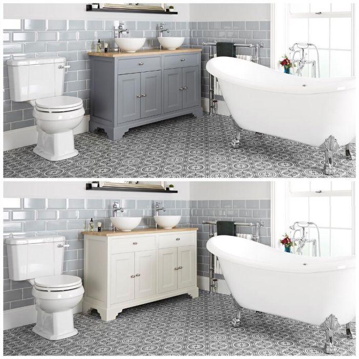 Conjunto de Baño Tradicional Completo con Bañera Exenta, Mueble de Lavabo de 1200mm con Lavabos Sobre Encimera e Inodoro Monobloque - Thornton