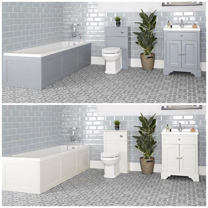 Conjunto de Baño Tradicional Completo con Bañera, Mueble de Lavabo de 630mm con Lavabo Inodoro Adosado - Thornton