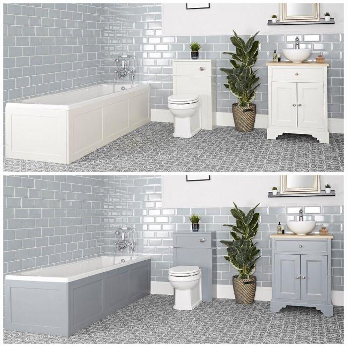 Conjunto de Baño Tradicional Completo con Bañera, Mueble de Lavabo de 645mm con Lavabo Sobre Encimera e Inodoro Adosado - Thornton