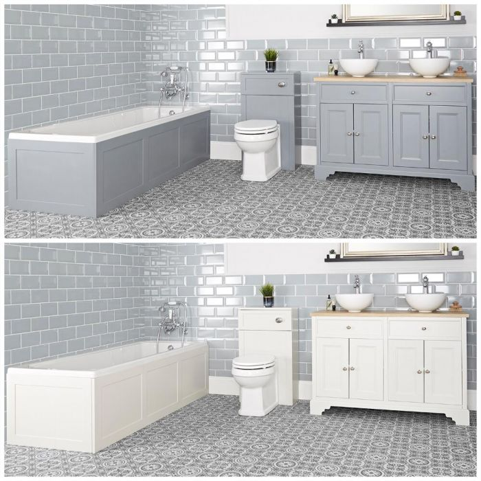 Conjunto de Baño Tradicional Completo con Bañera, Mueble de Lavabo de 1200mm con Lavabo Sobre Encimera e Inodoro Adosado - Thornton