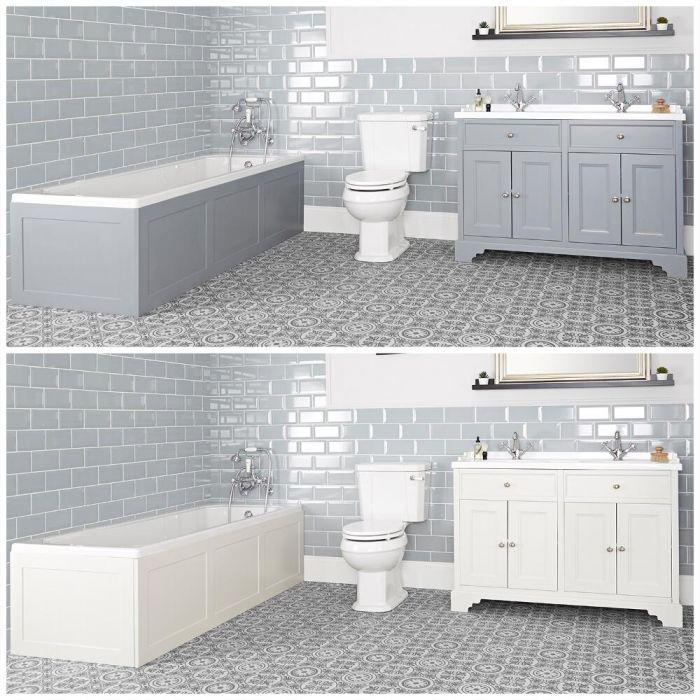 Conjunto de Baño Tradicional Completo con Bañera, Mueble de Lavabo de 1200mm e Inodoro Monobloque - Thornton