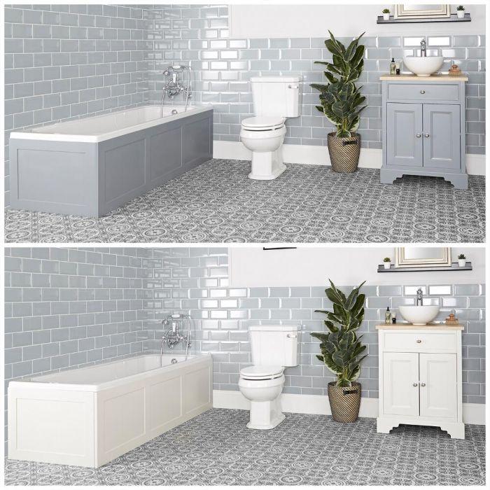 Conjunto de Baño Tradicional Completo con Bañera, Mueble de Lavabo de 645mm con Lavabo Sobre Encimera e Inodoro Monobloque – Thornton