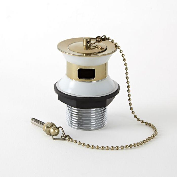 Tapón de Lavabo con Cadena con Acabado Efecto Oro Cepillado - Alice
